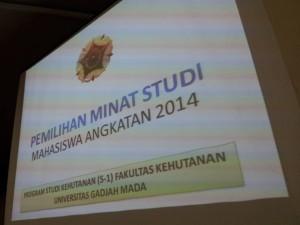 Pemilihan minat studi angkatan 2014 Fakultas Kehutanan UGM, 12 Januari 2016